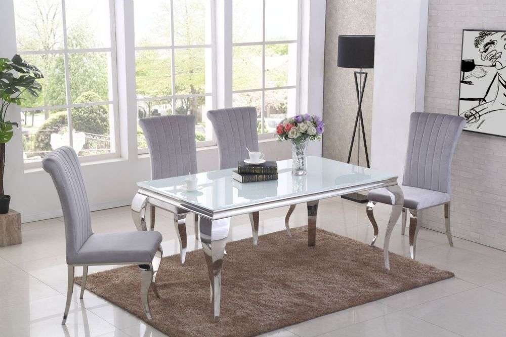 GA Liyana White  Dining Table & 4, 6 Grey  Chairs